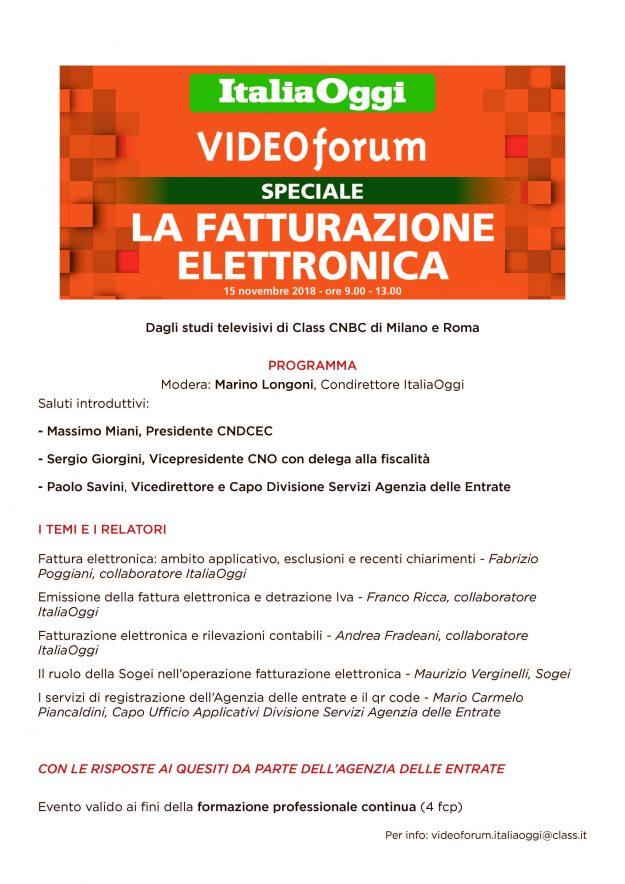 VideoForum FatturazioneElettronica Locandina DEF